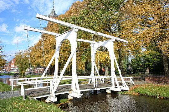 Historic wooden drawbridge in Papenburg, Lower Saxony, Germany