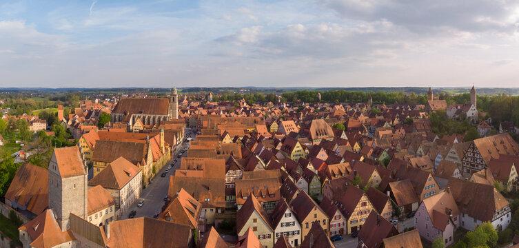 Aerial view of Dinkelsbühl at dawn