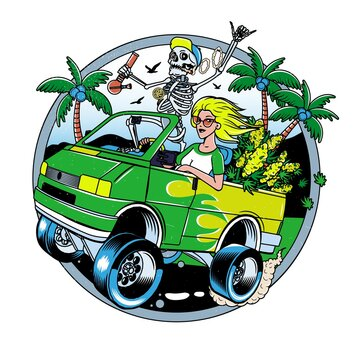 Skeleton with Jamb and Blondie Girl driving Van with Cannabis Bushes. Poster or T-shirt Designs. Vector Illustration.