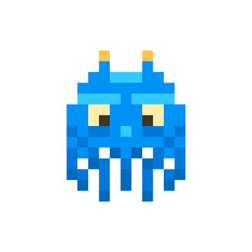 Cute blue space invader monster, game enemy in pixel art style on white