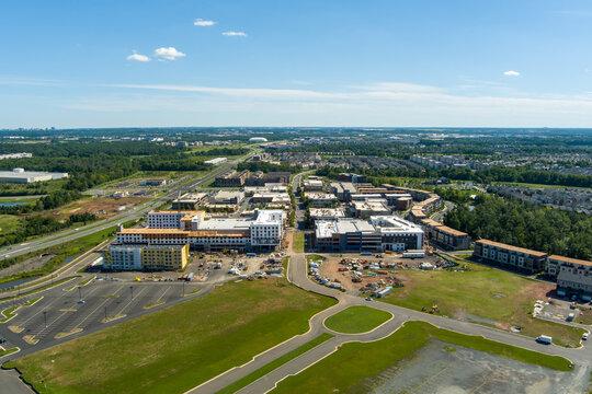 aerial view of the One Loudoun neighborhood and mixed-use development in Ashburn,Loudoun County, Virginia.
