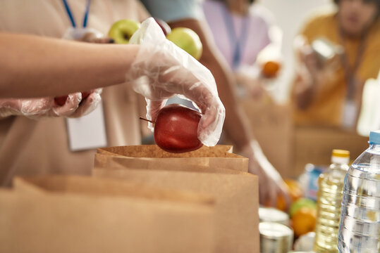 Close up of hand of volunteer in glove holding an apple while collecting, sorting food for needy people in paper bags, Team working together on donation project