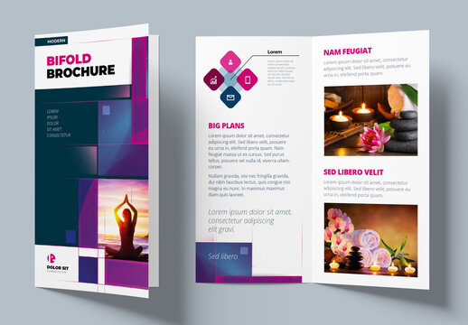 Violet Bifold Brochure Layout with Rectangles