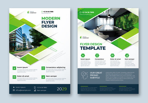 Corporate Flyer Layout with Dynamic Elements and Green Accents