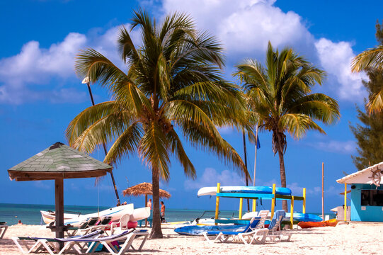 Relaxing on the beach on Grand Bahama island in the Caribbean