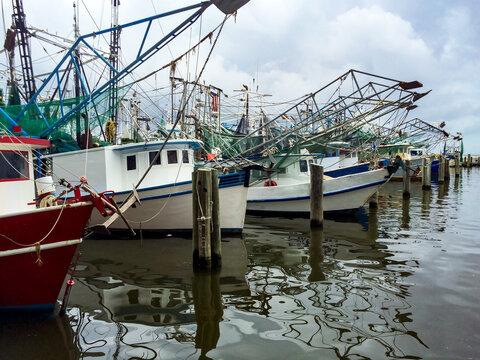 shrimp boats docked in Biloxi, Mississippi