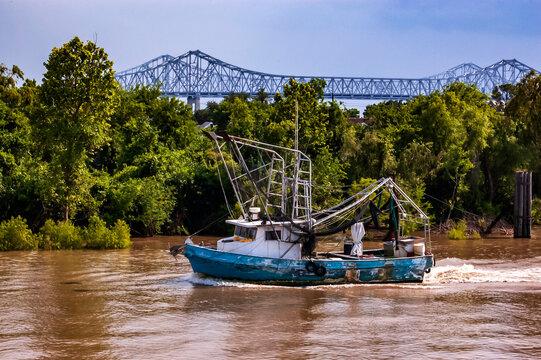 Shrimp boat on the Mississippi River