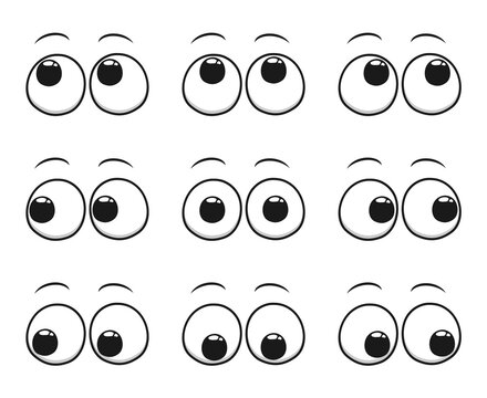 Set of cartoon eyes looking in all directions