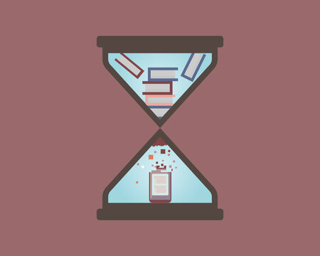microlearning hourglass to digest books to digital media with shorter content vector