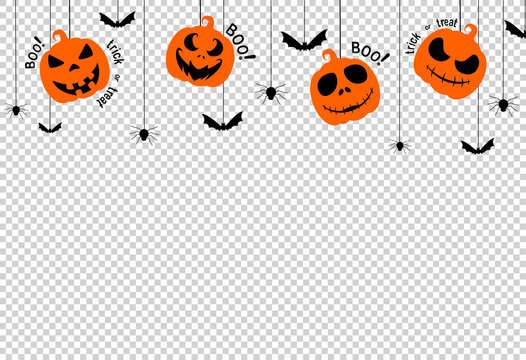 Halloween party  background with scary pumpkin face , bats, spiders, boo, trick or treat,  hanging from top on white backgroundspace for text,  isolated  on png or transparent  background, vector