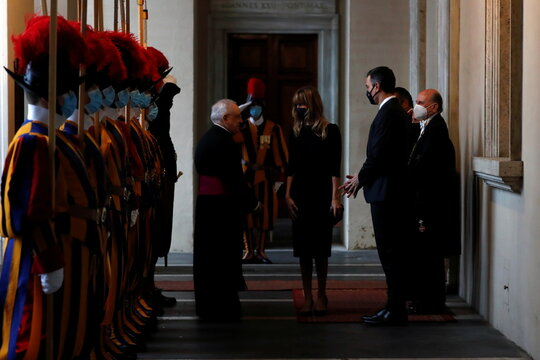 Pope Francis meets Spanish Prime Minister Pedro Sanchez at the Vatican
