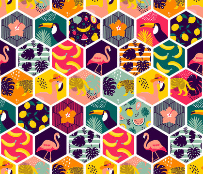Tropical hexagon pattern - seamless exotic floral elements and jungle animals background - surreal tropical elements