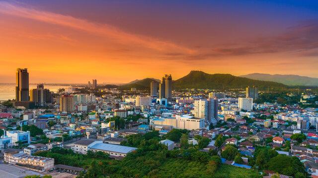 Sriracha city Chonburi Province Si Racha Twilight Light