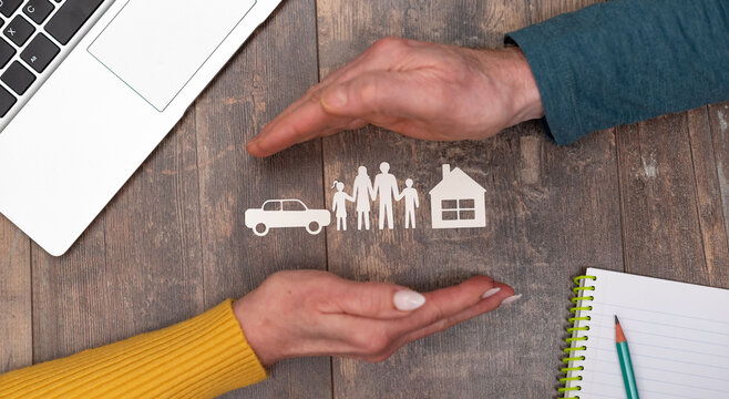 Concept of life, home and auto insurance
