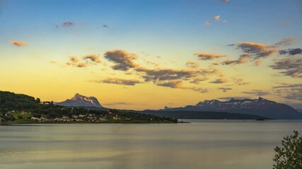 Wall Mural - Sunset over Ofotfjord lake and the city of Bogen in Norway