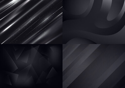 Set of Black Backgrounds. Vector Abstract Minimalist Patterns. Modern Geometric Wallpapers with Gray and Black Gradient
