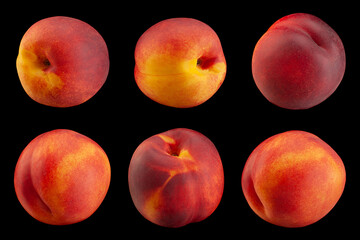 Ripe nectarine fruit collection on black
