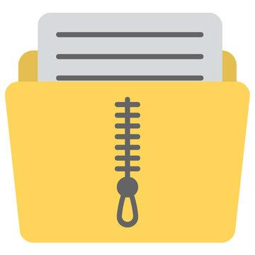 Folder with zipper, zip folder concept flat icon