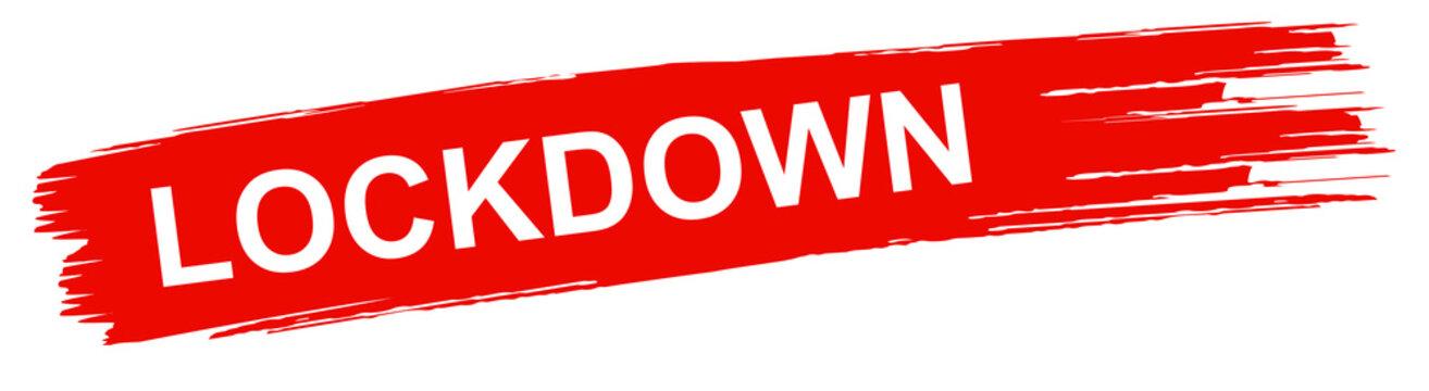 roter Ausgangssperre Banner Corona Lockdown