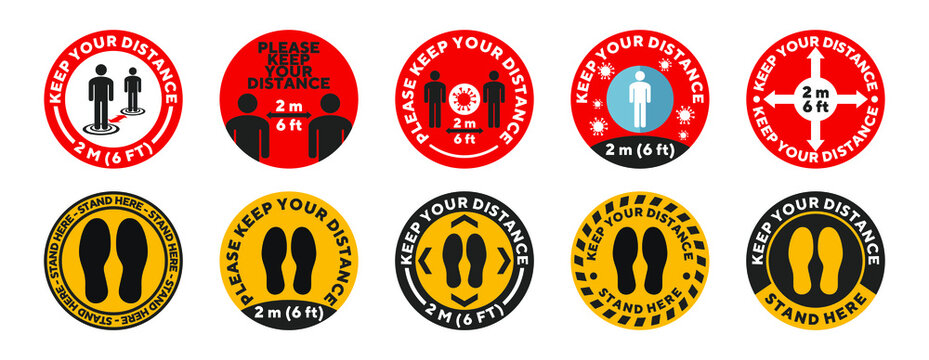 Round social distance floor sticker set