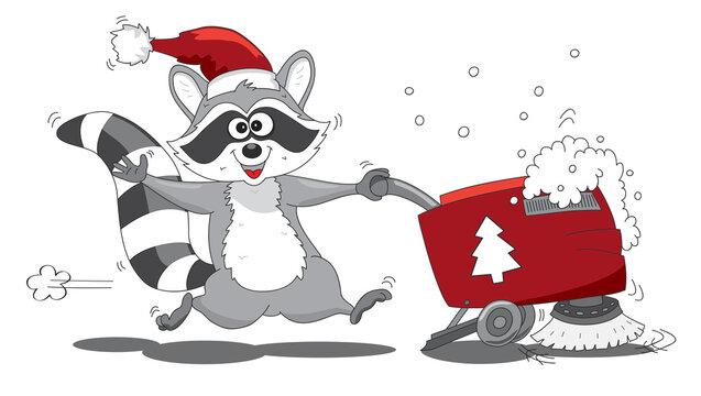 Waschbär Clipart  Weihnachten für Gebäudereinigung, Vektor Illustration   cartoon-IT