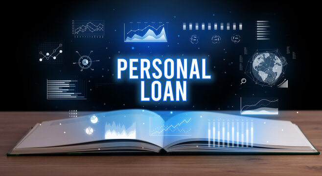 PERSONAL LOAN inscription coming out from an open book, creative business concept
