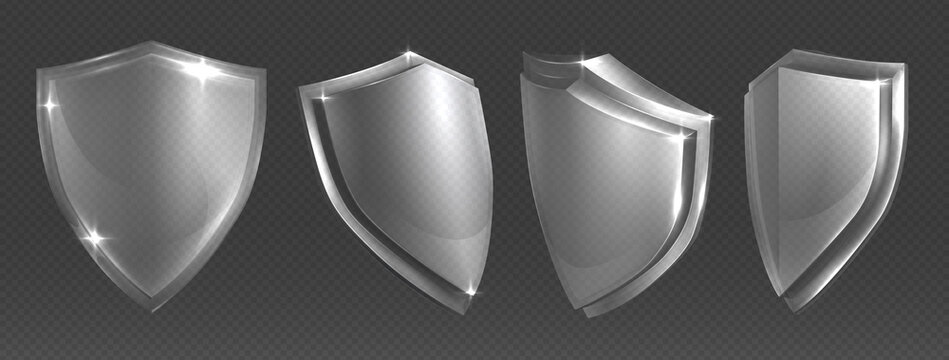 Transparent shield. Protective glass shields various angles, plexiglass or acrylic blank security panel, military or heraldic sign shape design template, vector trophy, power and safety shiny symbol