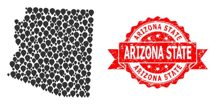 Scratched Arizona State Stamp Seal and Mark Mosaic Map of Arizona State