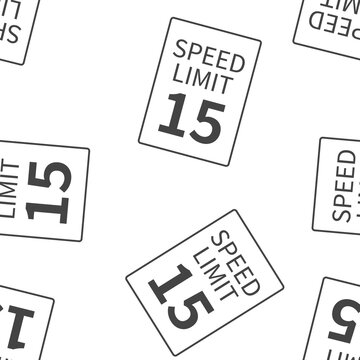 Vector Speed Limit 15 mph  seamless pattern on a white background.