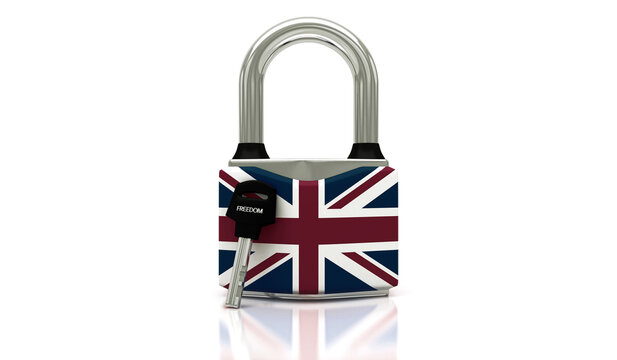 Conceptual representation of national lockdown due to covid-19, closed padlock with keys to freedom, england, 3d illustration, 3d rendering