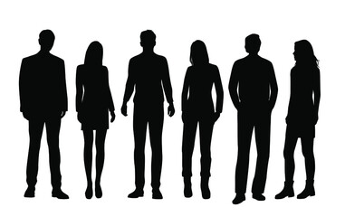 Fototapeta Vector silhouettes of  men and a women, a group of standing  business people, black and white color isolated on white background