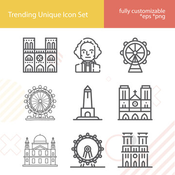 Simple set of national capital related lineal icons.