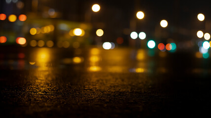 Wet asphalt, night view, neon reflection on the concrete floor. Night empty stage. Dark abstract background, dark street. Night city after rain, wet surface. Blurred background, night bokeh. Fotomurales
