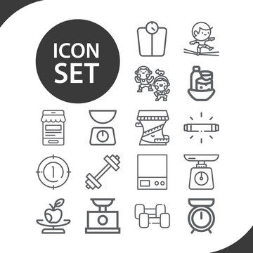 Simple set of weigh related lineal icons.