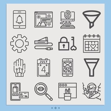 Simple set of app related lineal icons.