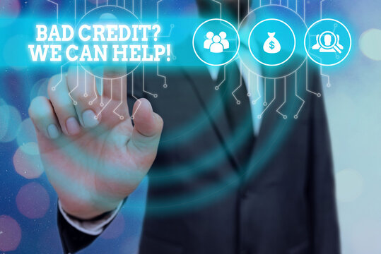 Writing note showing Bad Creditquestion We Can Help. Business concept for offer help to gain positive payment history System administrator control, gear configuration settings tools concept