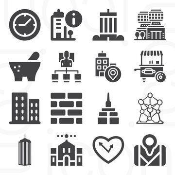 16 pack of brick  filled web icons set