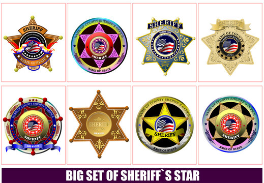 Sheriff's badge on a white background. 3d vector illustration