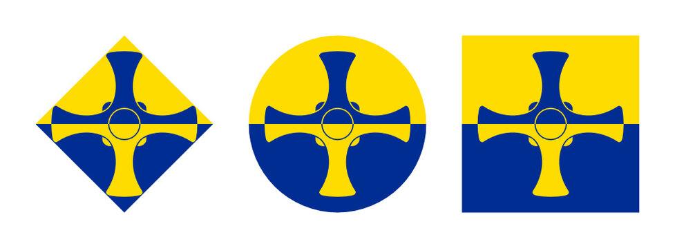 durham flag icon set. isolated on white background