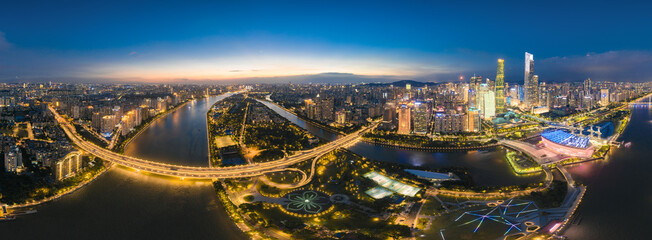 Night view of Guangzhou Bridge, Ersha Island, Guangzhou, China Fotomurales