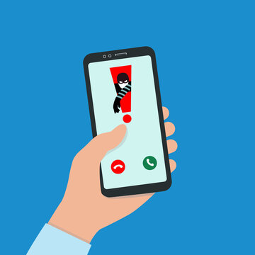 A Hacker Hacks A Smartphone. Spam Call to your Smartphone. The concept of spam data, insecure connection, online fraud and malware through fake calls, phishing, social engineering.