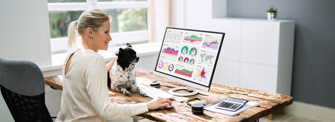 Women Using KPI Analytics Technology For Marketing On Computer