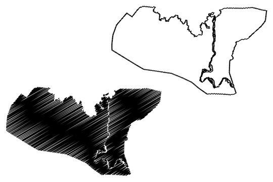 Bahir Dar City (Federal Democratic Republic of Ethiopia, Amhara Region) map vector illustration, scribble sketch City of Bahir Dar map