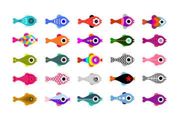 Colored isolated on a white background Fish vector icon set. Each of icon placed on a separate layer.