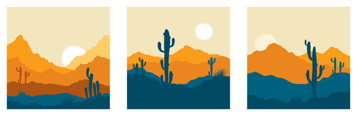 Abstract landscape with cactus / Set vector illustrations, backgrounds, triptych, twilight in mexico