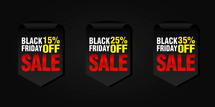 Black friday set of sale badges 15%, 25%, 35% off. Vector illustration