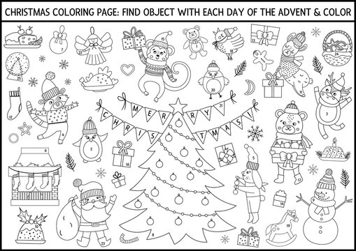 Vector black and white Christmas coloring page and advent calendar with traditional holiday symbols. Cute winter planner for kids. Festive poster design with Santa Claus, fir tree, deer, animals.