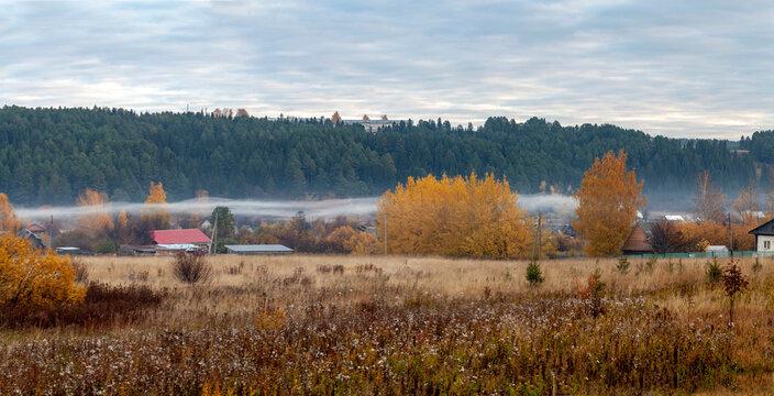 Rural landscape. Autumn morning