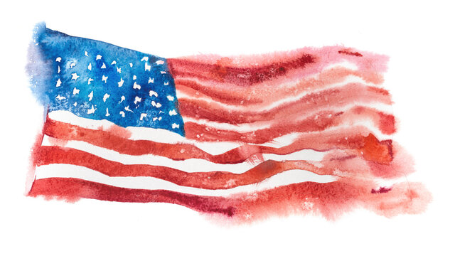 USA, american flag. United States of America. Hand drawn watercolor illustration.
