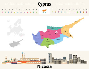 Fototapete - Cyprus administrative divisions map with main cities. Flag of Cyprus. Nicosia cityscape. Vector illustration